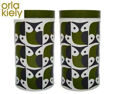 2 x Orla Kiely Owl Storage Tin - Green/Cream/Grey