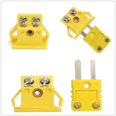 K Type Thermocouple Miniature Socket & Panel Mount Alloy Plug Connector One Set