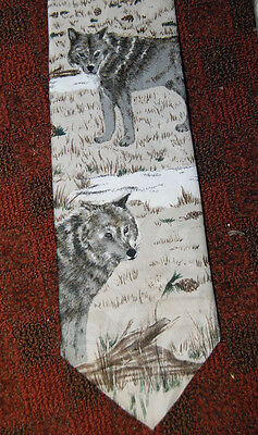 "USA ""WATCHFUL WOLVES"" TIE BY ""ANIMAL TRACKS"" 90's LYNELL BRADSHAW wolf necktie"
