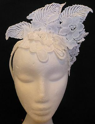 Morgan And Taylor White Lace Fascinator Races Wedding Melbourne Cup Derby Day
