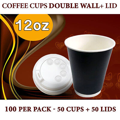Double Wall Disposable Coffee Cups 12 oz 50Pc Cups+Lids 50 Pc Double Wall Bulk