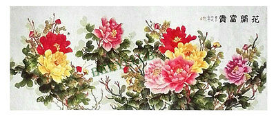 Rich Peony * Huge Handcrafted Cross Stitch Needlepoint Wall Tapestry 85*195cm