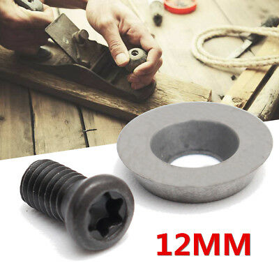1/5/10PCS 12mm Round Carbide Insert Cutter with Screws for Wood Turning Tool UK