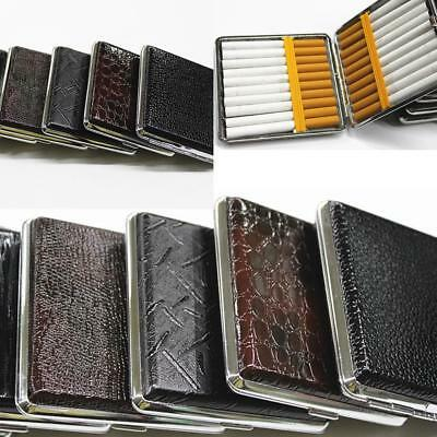 1Pcs Slim Leather PU Metal Cigarette Case Box Holder Storage Stainless Steel