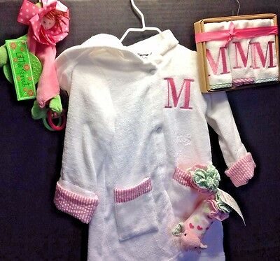 "MUD PIE BATHROBE, WASHCLOTHS, BOOTIES, DOLL  INITIAL ""M"" Terry Cover-Up 4 PC SET"