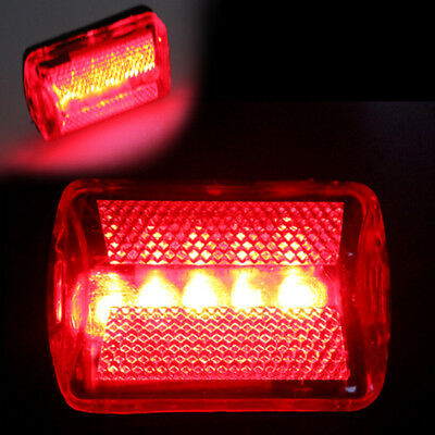 Bicycle/Bike Rear 5 LED Tail Light Red Warning Lamp, Safety Cycling/Night Riding