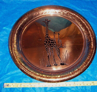 Vintage copper tray made in Rhodesia giraffe motif used see details