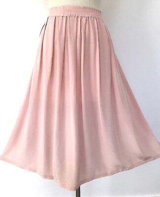 Vintage Blush Pink 100% Silk Full Skirt 12-14