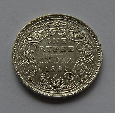 1862 British India Silver 1 Rupee Coin - Victoria Queen -  Four Dots - Look!