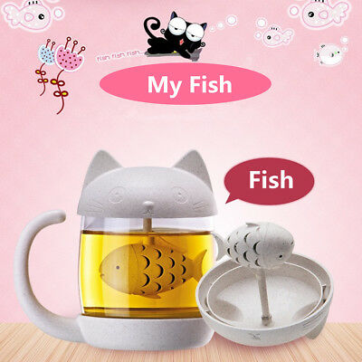 Cute Cat Glass Cup Tea Mug With Fish Infuser Strainer Filter Home Office Gift