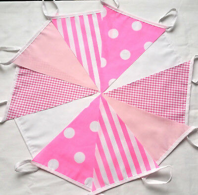 PINK MIX Fabric Bunting 30 FEET Pink White girls birthday Clearance last few