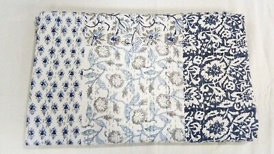 Indian Handmade Patch Work Kantha Quilt 100% Cotton Blanket Block Print Twin