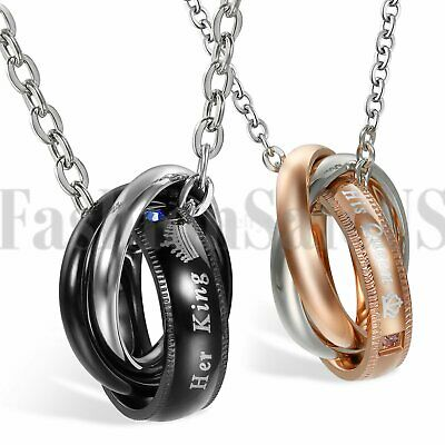 Interlocking Ring His and Hers Lover Matching His Queen Her King Couple Necklace