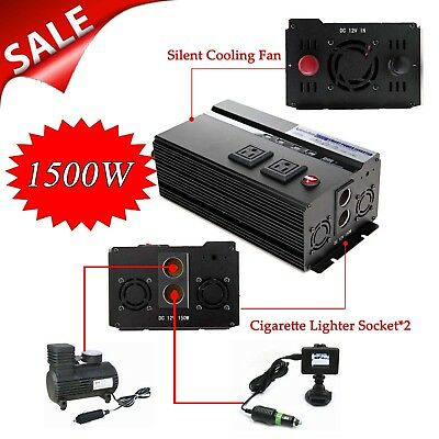 High Power Car Inverter 2000W/4000W Peak Adapter DC12V AC110V Cigarette Socket