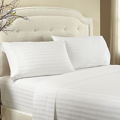 Damask Striped White Color All Sizes Sheet Set 1200 Thread Count Egyptian Cotton