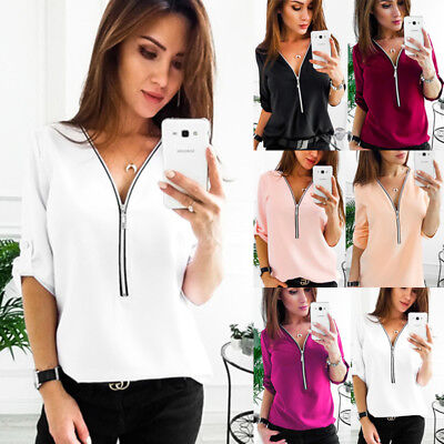 Fashion Womens Long Sleeve Loose Blouse Casual Shirt Summer Chiffon Tops T-Shirt