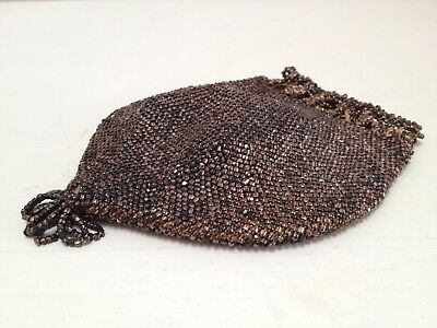 Antique Victorian Micro Beaded Pouch/ Purse Handmade Drawstring Reticule Bridal