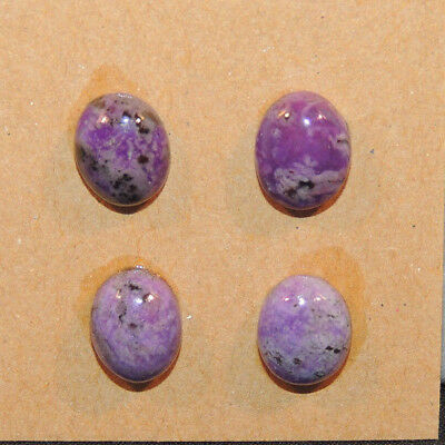 Sugilite Cabochons 8x10mm with 4.5mm thick Set of 4 (13287)
