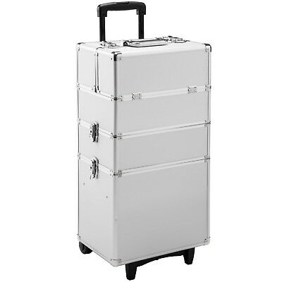 Valigetta Trolley Alu Make Up Beauty Case Porta Trucco Nail Art Valigia Argento