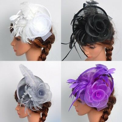 Elegent Women Fascinator Hat Feather Hair Clip Cocktail Ball Party Headpiece