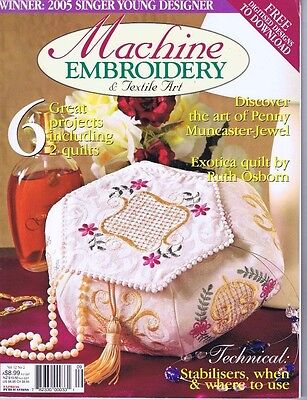 Machine Embroidery Magazine, Vintage Sewing Box pattern, Anzac Day Poppy Quilts
