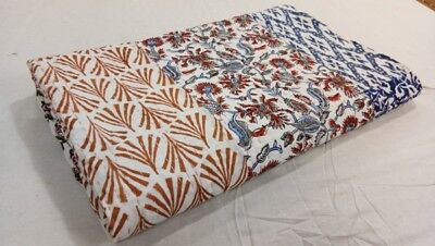 Handmade 100% Cotton Patch Work Indian kantha Quilt Ethnic Bedspread Queen Size