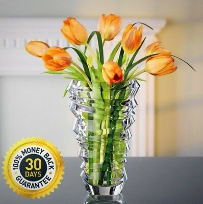 Nachtmann Slice 9 In. Crystal Decorative Vase In Clear Home Decoration New