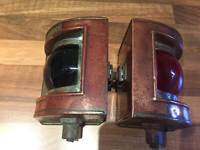 Pr WW2 1944 Ships Copper Navigation Lights Port Starboard NMaritime Marine Boat
