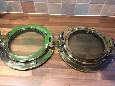 Pair of Antique Bronze Brass Opening Portholes Maritime Marine Boat Nautical