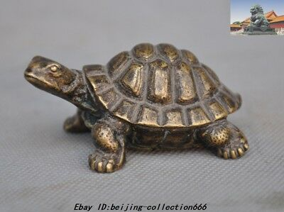 Old Chinese Fengshui Bronze longevity Lucky Animal Turtle Tortoise Statue