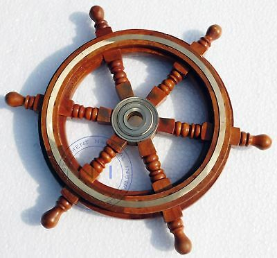 12'' Maritime Ship Wheel Brass & Wood Pirate Boat Nautical Home Decor Steering