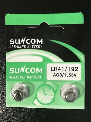 10 x Alkaline Button Cell Battery Suncom AG3 LR41 192 1.5V