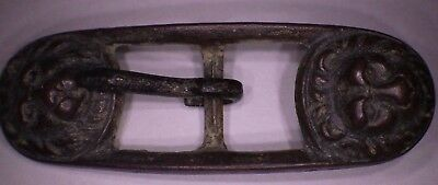 "Late Roman Byzantine Buckle Cast Bronze - 2"" Long with Lions Heads- Check it Out"