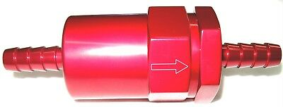 """Fuel Filter, Billet inline cleanable element  for 3/8"""" Barbed Show Polished Red"""