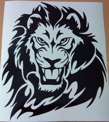 "small 7x6"" car van bonnet wild lion cat tiger tribal vinyl graphic side sticker"