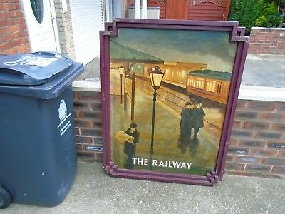 Original hand painted The Railway pub sign by G Mayhew signed Vaux Durham No.2