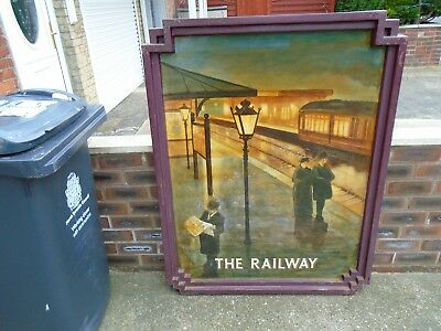 Original hand painted The Railway pub sign by G Mayhew signed Vaux Durham No.1