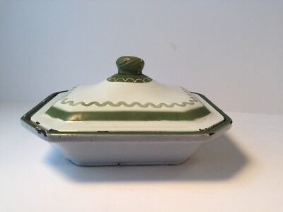 Vintage Klafrestrom SMALL Green White Enameled Cast Iron Covered Casserole Lid