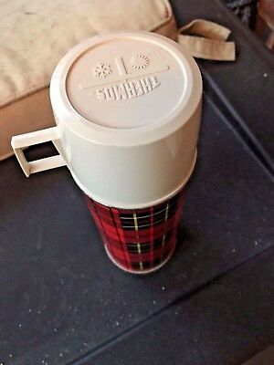 "Vintage King-Seeley Thermos Co Red Plaid Insulated Norwich, Conn. USA 9.5"" Tall"