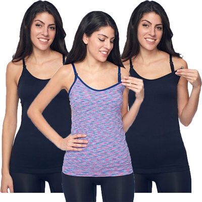 3750a288f59 3-Pack Nursing Breastfeeding Camisole Tank Top with Build-In Maternity Bra  Cami
