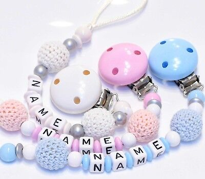 Dummy Clip with Crochet for Boy & Girl Baby Shower Personalised Christening Gift