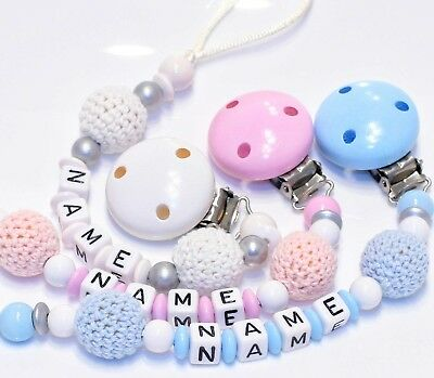 Personalised Dummy Chain Holder for Girls and Boys with Crochets - 3 Colours