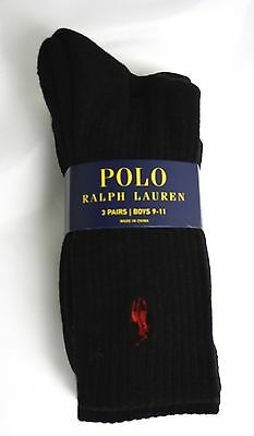 Polo Ralph Lauren Boys Socks Black 3 pair pack Red Pony Logo Crew Socks NIP