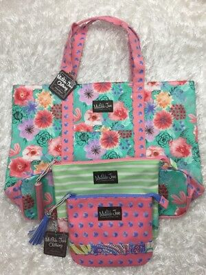 NEW Matilda Jane TOTE Tote-ally Perfect Floral Shopper Set with 2 pouch set NWT