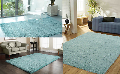 Shaggy Rug Area Dining Room Carpet Floor Mat Home Bedroom Thick Duck Egg Blue