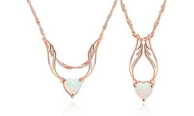 2.00 CTW Fire Opal Guardian Angel Necklace in 18K Rose Gold Plating