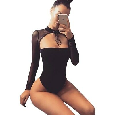 Women Bodysuit Black Solid Patterned Leotards Fashion Long Sleeve Shorthand Body