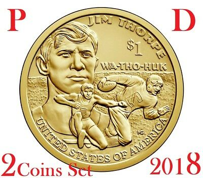 2-coin-set 2018 P D Native American Jim Thorpe Football Sacagawea Dollar $1