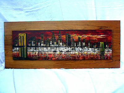 "Cool handpainted  70´s design wall picture # Wand Bild "" New York "" 118 x 48 cm"