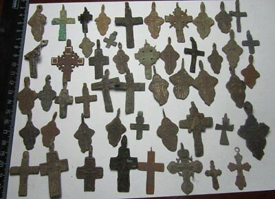 Metal detector finds.Mix lot   ancient crosses  50 pieces. N1
